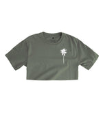 Palm Tree Logo Crop Top - Military Green