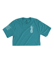 Pineapple Logo - Tropic Teal Cropped Tee