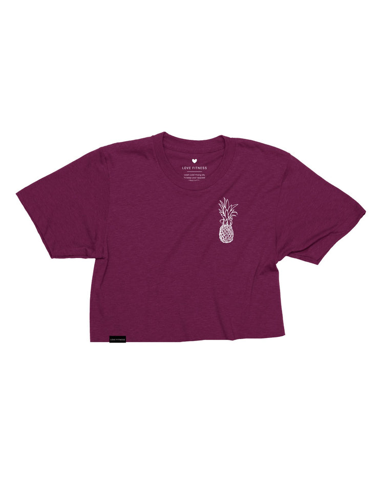 Pineapple Logo - Triblend Maroon Cropped Tee