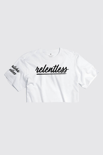 RELENTLESS - White Cropped tee | LIMITED EDITION