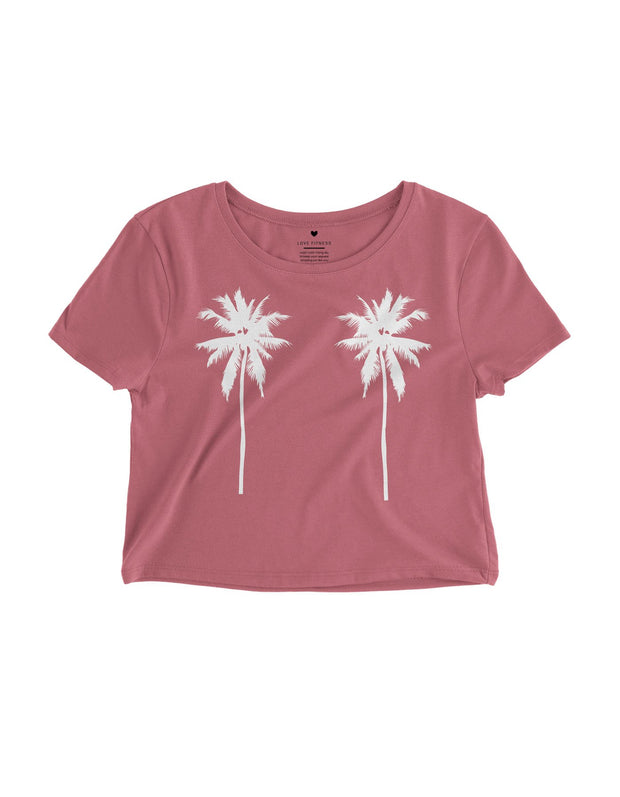 Tropical Palm Trees- Mauve Crop