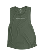 will run for tacos military green muscle tank top love fitness