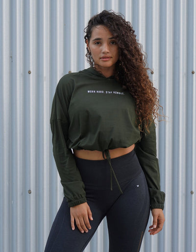 Stay Humble. Cinched Hoodie - Olive Green