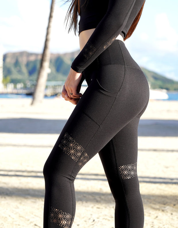 Kilani Laser Cut Leggings - Black