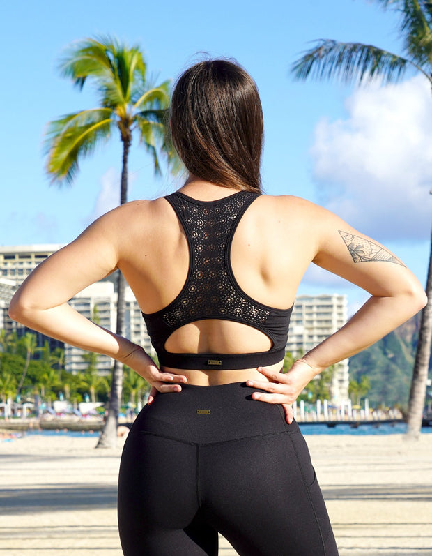 Kilani Laser Cut Sports Bra - Black