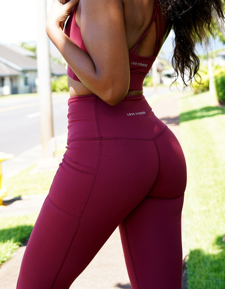 Luxe III - Maroon High Waisted Pocket Leggings