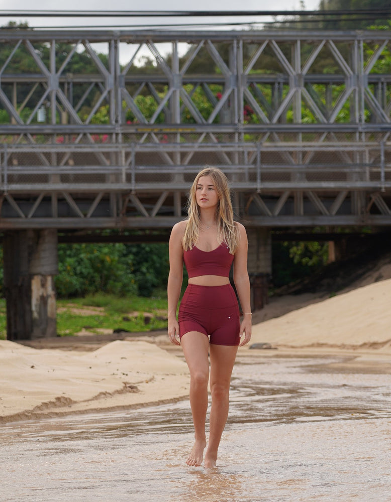 Luxe III - Maroon High Waisted Shorts