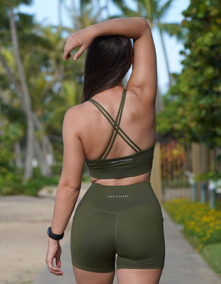 Rebel Crisscross Sports Bra - Olive Green