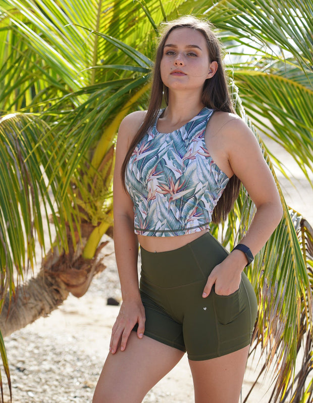 Bird of Paradise Active Duo Crop Top - Olive Green