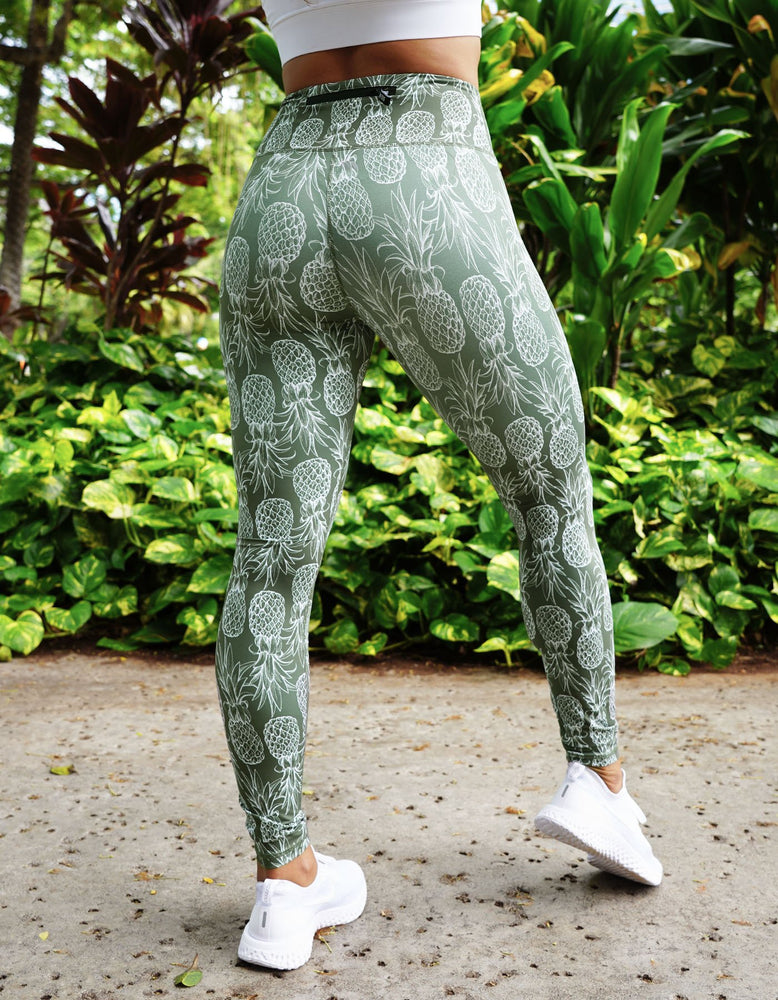 Olive Green Pineapple Leggings