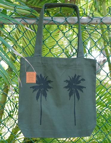 Palm Tree Tote Bag - Military Green
