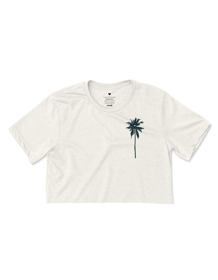 Palm Tree Logo - Heather Natural Cropped Tee