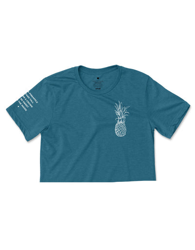 Pineapple Logo - Heather Teal Cropped Tee