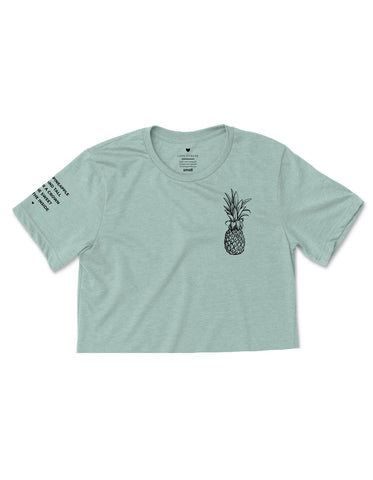 Pineapple Logo - Heather Dusty Blue Cropped Tee