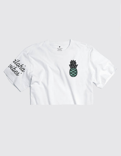 Teal Pineapple Logo - Cropped Tee