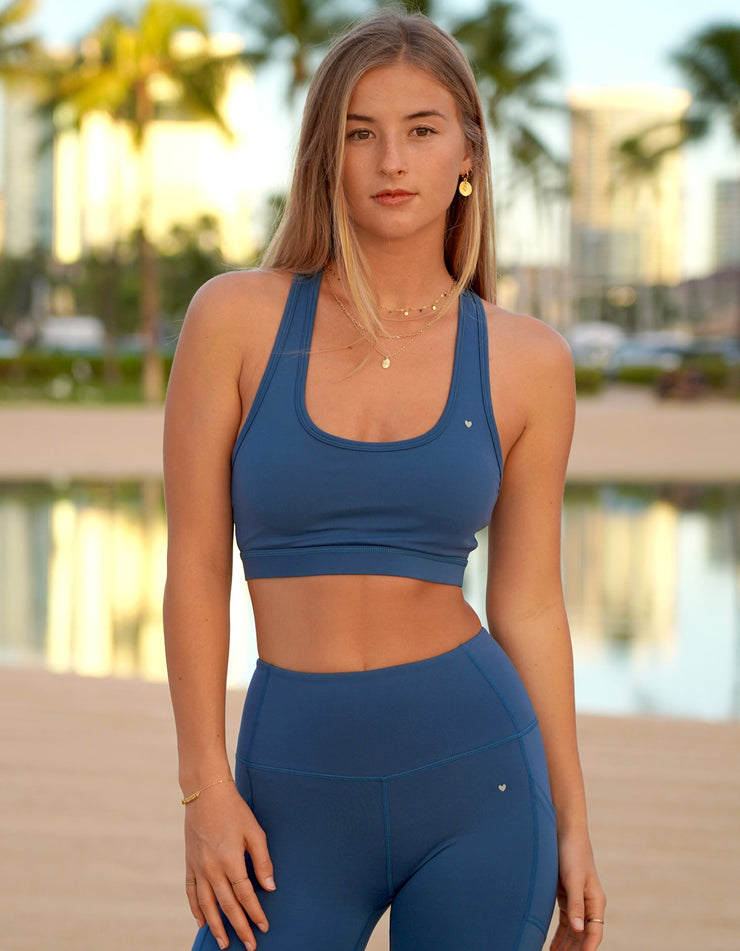 Kilani Laser Cut Sports Bra - Teal