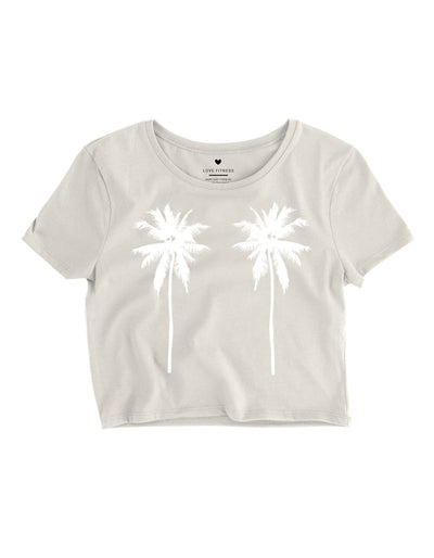 Tropical Palm Trees Crop Top - Heather Dust