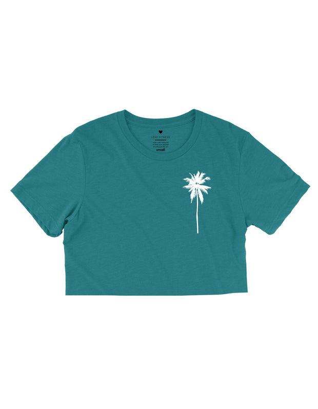 Palm Tree Logo - Tropic Teal Cropped Tee