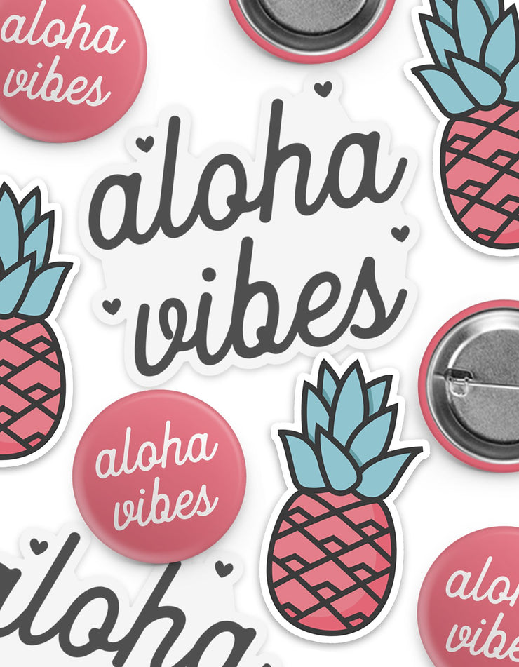 Pink Aloha Vibes Sticker & Button Pack
