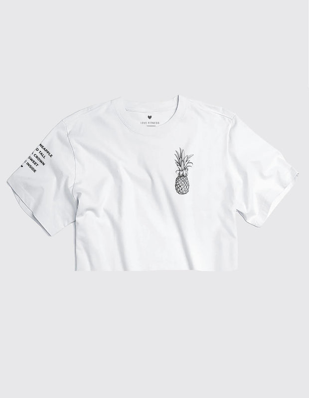 Pineapple Logo - White Cropped Tee