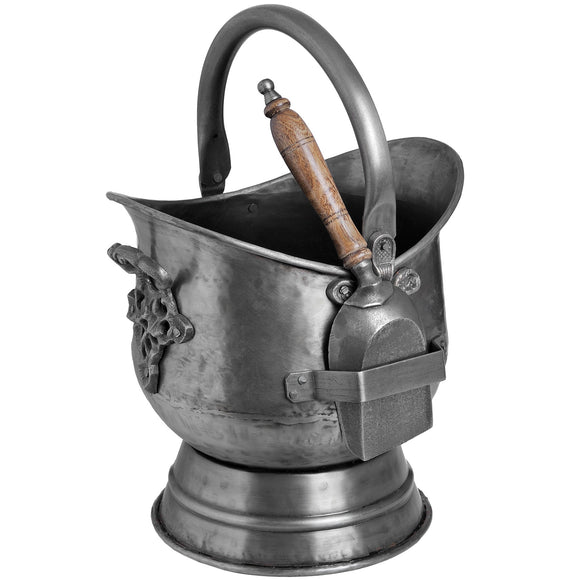Antique Pewter Coal Bucket with Shovel