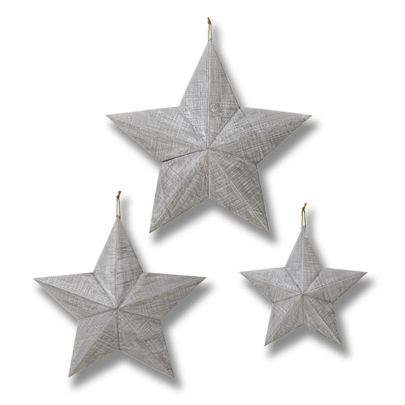 Christine's Additions Grey Wooden Stars - Set of Three
