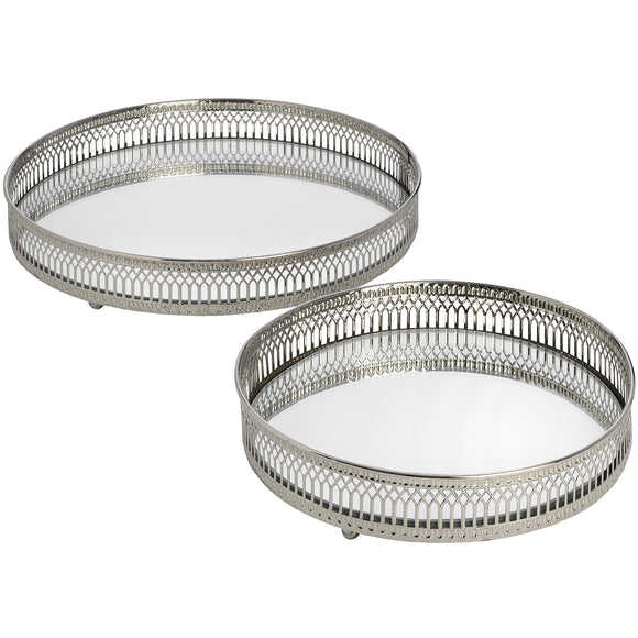 Circular Mirror Trays - Nickel, Set Of Two