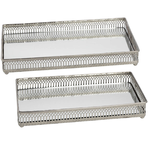 Rectangular Mirror Trays - Nickel, Set Of Two