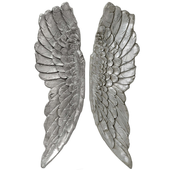 Antique Silver Angel Wings Hanging Ornament - Large