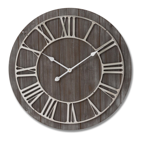 Christine's Additions Rustic Wooden Clock With Contrasting Nickel Detail - Large