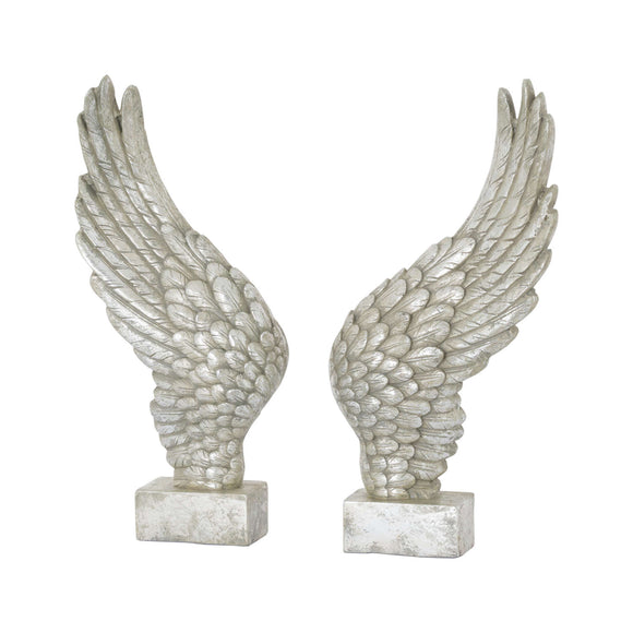 Freestanding Antique Silver Angel Wings Ornament