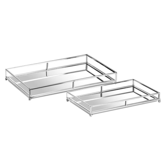Rectangular Mirror Trays - Silver, Set Of Two