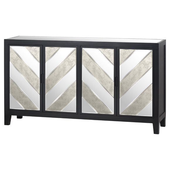 Harvey Collection Black Mirrored Sideboard