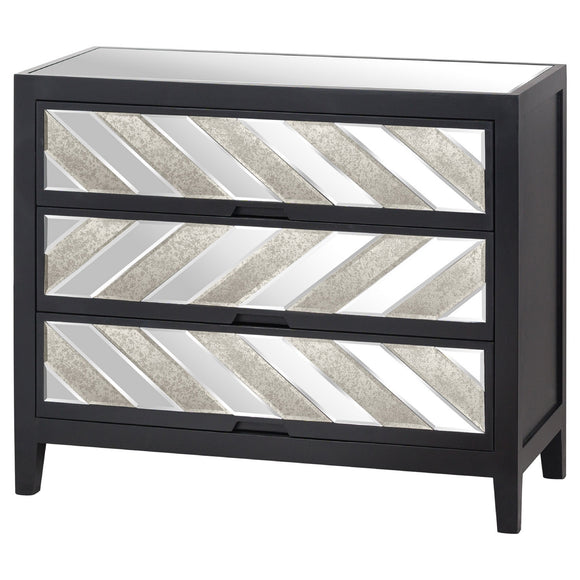 Harvey Collection Black Mirrored 3 Drawer Chest