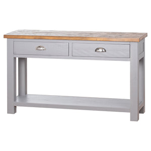 The Byron Collection Two Drawer Console Table With Shelf - Grey