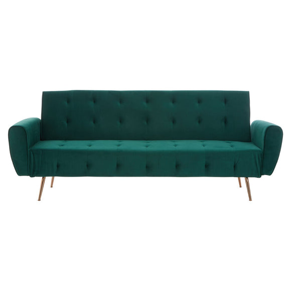 Harvey Collection Dilton 3 Seater Velvet Sofa Bed - Deep Green