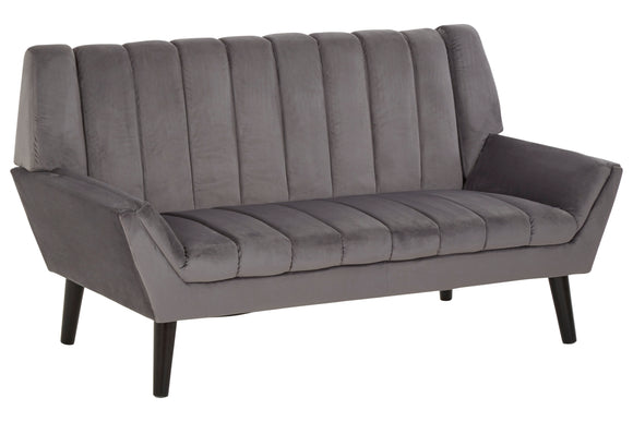 Harvey Collection Manhattan 2-Seater Velvet Sofa - Grey
