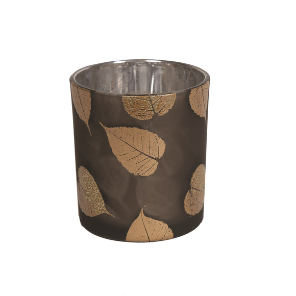 Autumn Leaves Tealight Holder - Gold 8cm