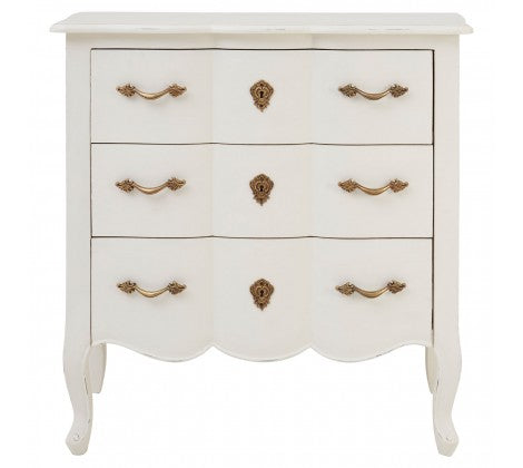Harvey Collection Venice 3 Drawer Chest - White