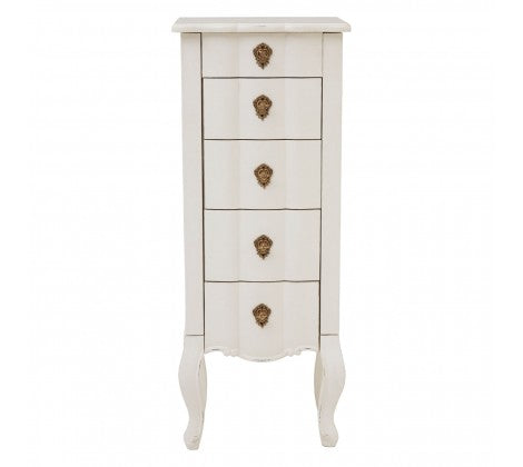 Harvey Collection Venice 5 Drawer Jewellery Chest With Mirror - White