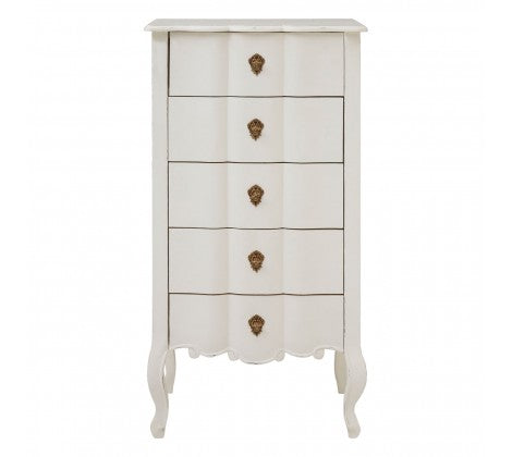 Harvey Collection Venice 5 Drawer Chest - White