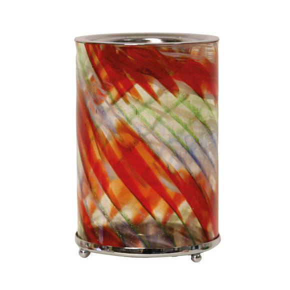 Aroma Wax Melt Burner - Red Swirl Art Glass