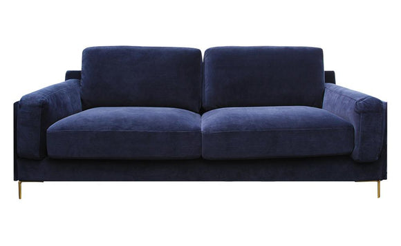 Audrey 3-Seater Velvet Sofa - Dark Blue