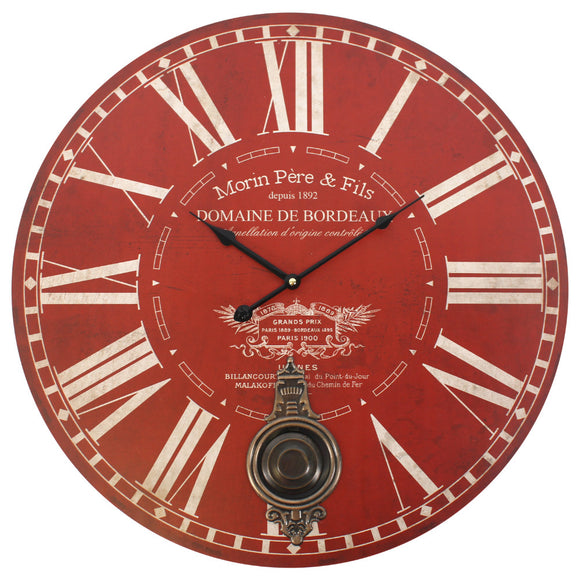 Red Morin Pere & Fils Wall Clock with Pendulum - Large