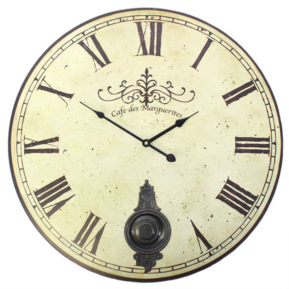 Vintage Style Cafe des Marguerites Wall Clock with Pendulum - Large