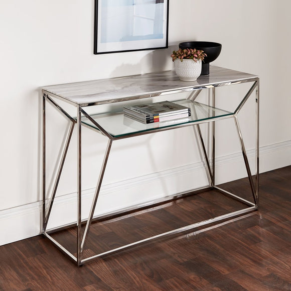 Marble Glass Console Table