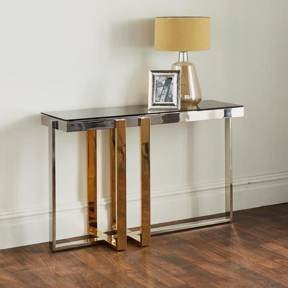 Kollam Silver Plated Console Table - Silver & Gold