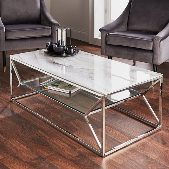 NH Silver Plated Marble Coffee Table