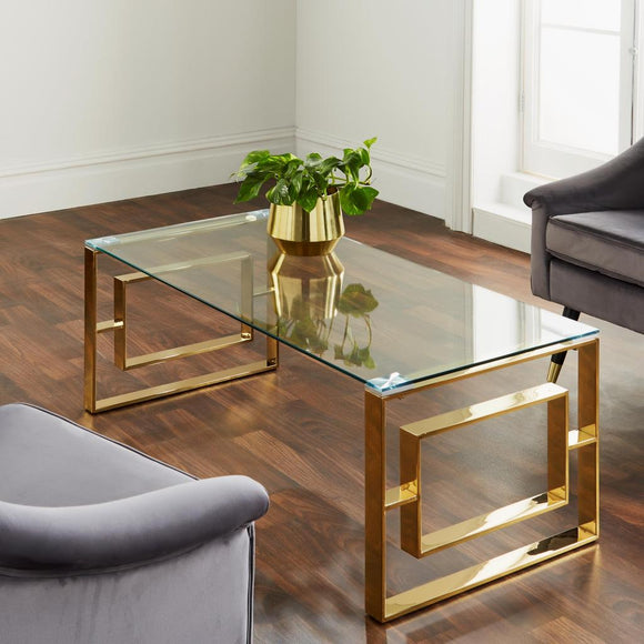 Milan Golden Plated Coffee Table