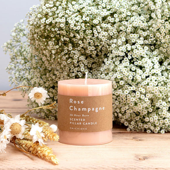 Rose Champagne Pillar Candle - Small